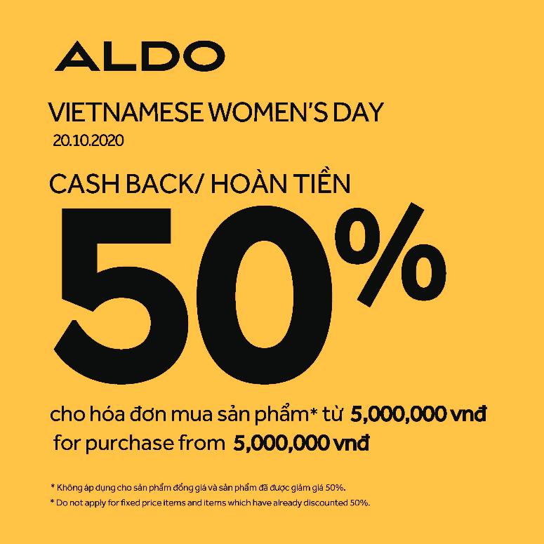 ALDO CASH BACK UP TO 50%